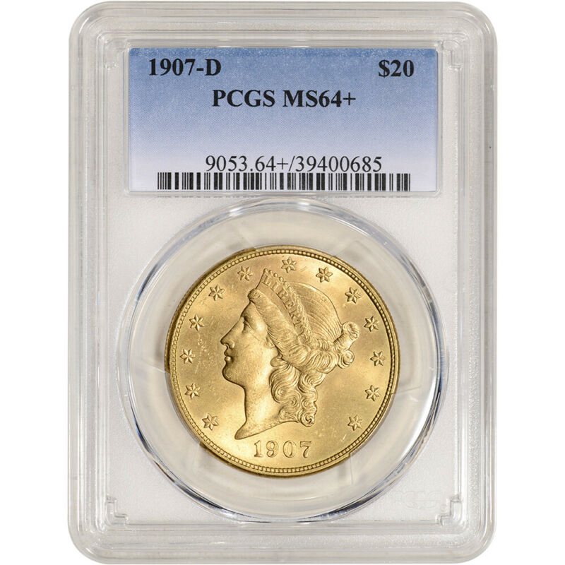1907-D US Gold $20 Liberty Head Double Eagle - PCGS MS64+
