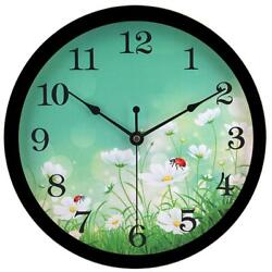 hito Silent Floral Wall Clock Non Ticking 10 inch Excellent Fl2 Black