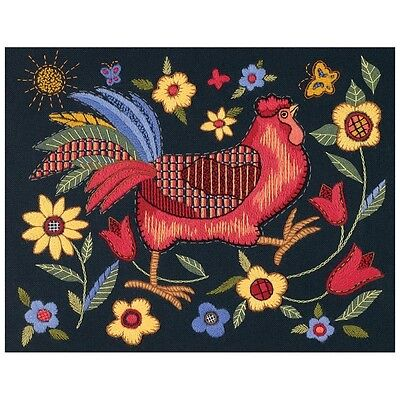 Rooster on Black Crewel Embroidery Kit