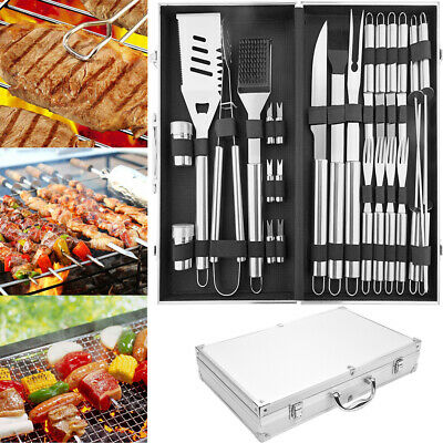 Stainless Steel BBQ Grill Tools Set Utensils 26 Accessorie Outdoor Grilling Gift