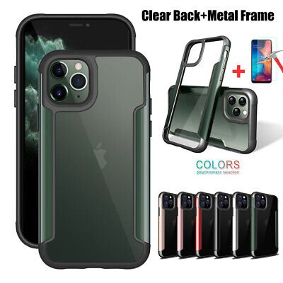 For iPhone 11 Pro Max XR XS X 7 8 Plus Clear Shockproof Metal Hybrid Case (Clear Metal)