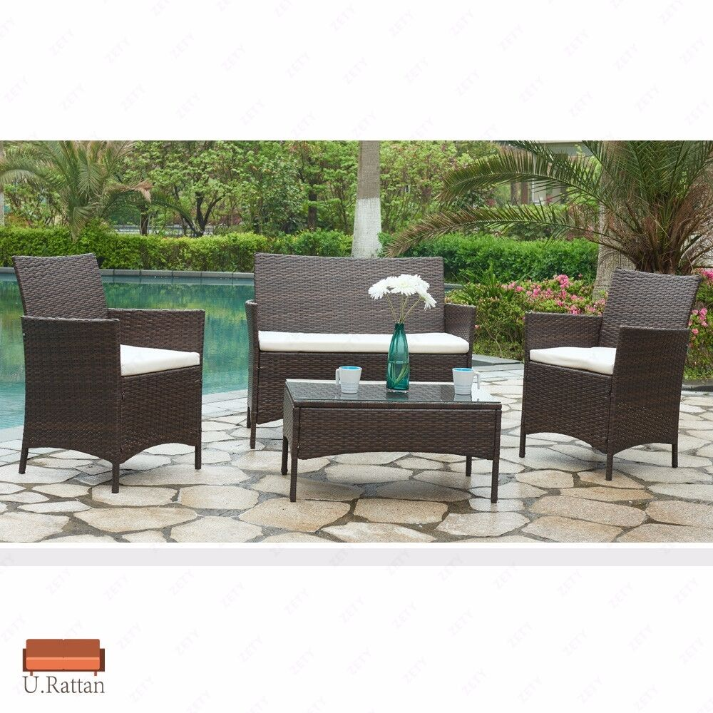 4PC Rattan Wicker Patio Furniture Set Cushioned Sofa U0026 Table Outdoor Garden  Lawn