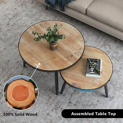 Round Nesting Set of 2 End Table Home Living Room Rustic Brown Coffee Side Table ()