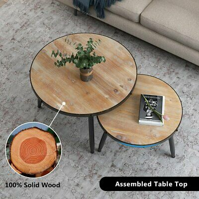 Round Nesting Set of 2 End Table Home Living Room Rustic Brown Coffee Side Table Round Set Side Table