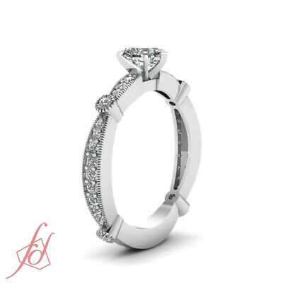 Tapered Milgrain Pave Set Engagement Ring 0.80 Ct Heart Shaped SI1 Diamond GIA 2