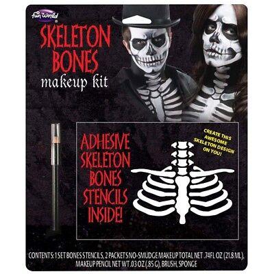 Skelett Knochen Make-Up Set Erwachsene Skelett Kostüm Stifte