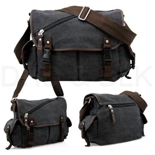 Messenger Bag School Shoulder Bag Men's Vintage Crossbody Satchel Canvas Leather