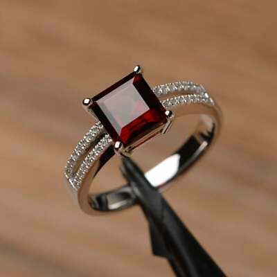 2Ct Asscher Cut Red Garnet Solitaire Engagement Ring Solid 18K White Gold -