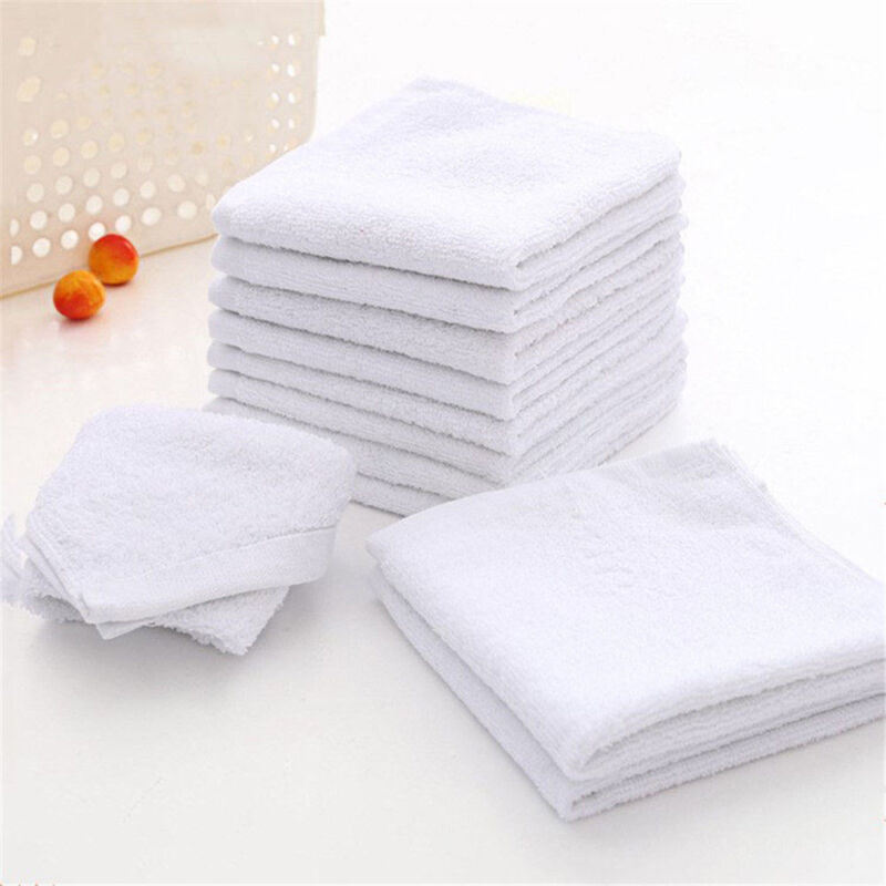 10Pcs White Square Microfiber Face Hand Car Cloth Towel House-Cleaning