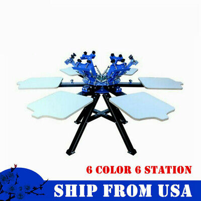 Us 6 Color 6 Station Double Rotary Screen Printing Machine T-shirt Print Machine