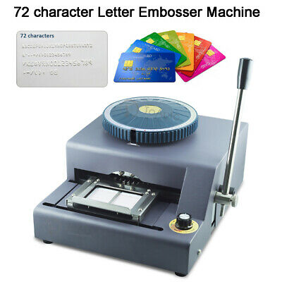 72 Letter Manual Embosser Machine Pvc Gift Vip Card Stamping Embossing Diy Maker