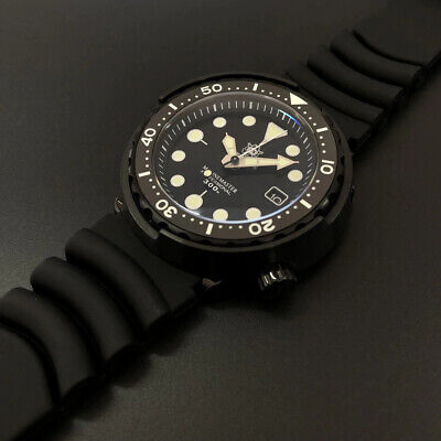UK STEELDIVE SD1975 Automatic 300m Black vintage Diver Watch