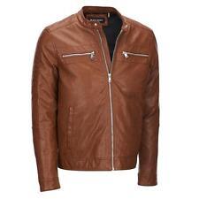 Black Rivet Mens Faux-Leather Jacket W/ Quilted Shoulders