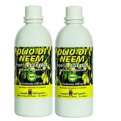 Aceite Neem Puro 2 Paquetes 240ML Insecticida Repelente Bio Huerta Jardín