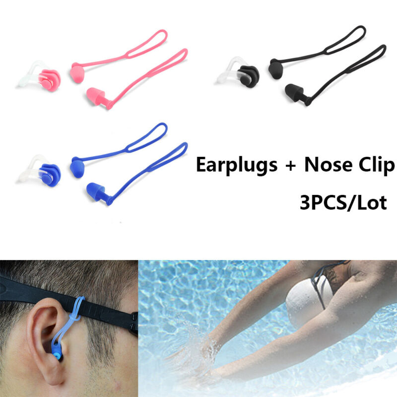 Silicone Nose Clip Ear Plugs Set with Case Adults Kids Unise