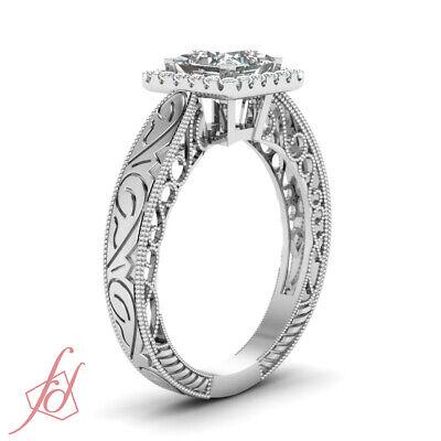 .70 Ct Princess Cut Diamond Vintage Style Halo Engagement Ring 14K GIA Certified 2