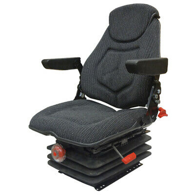 Fam1270 Tractor Seat Assembly Bk Fabric W Arm Head Rest Lumbar