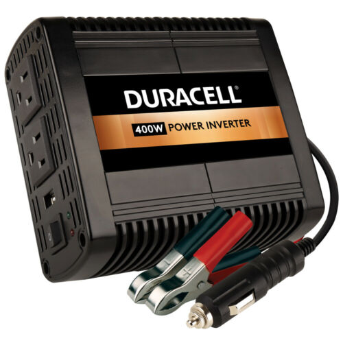 Duracell 400w High Power Inverter 12v DC Input, (2) AC Outlets (1) 2.1a USB (5v)