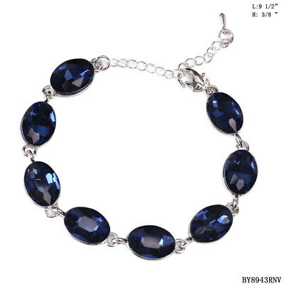 Bridal Sapphire Navy Blue Crystal Rhinestone Oval Shape Bracelets /8943