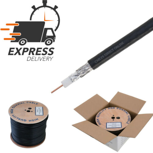 500ft RG6 Bulk Coaxial Cable Wire Dual Shield 18AWG Black Coax Satellite TV
