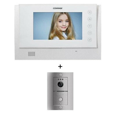 "Commax LCD 17"" WideColor Intercom CAV-70CG White Door Camera DRC4L HandsFree LED"