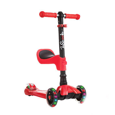LaScoota Kids Kick Scooter with Light Up Wheels, Age 2 to 12 Year Old (Red)