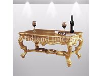 NEW Santiago Luxury French Coffee Table - Gold - Asian French Italian Gilded Furniture Leaf Ornate
