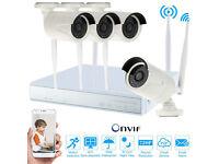 HD Wireless WiFi CCTV Secuirty Camera System Kit. NVR, 1TB Hard Drive, 4 HD WiFi Camera, Mobile View
