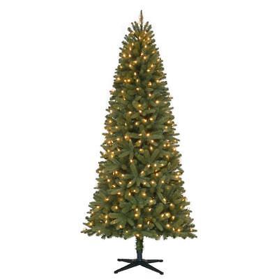 7 ft. Pre-Lit LED Benjamin Fir Quick-Set Artificial Christmas Tree Warm White  ()