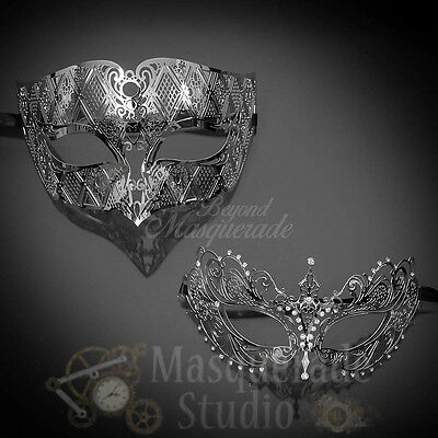 Couples Silver Simplistic and Extravagant Costume Party Masquerade Masks Set