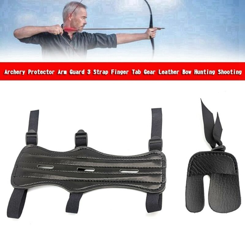 Archery Protector Arm Guard 3 Strap Finger Tab Gear Leather Bow HuntingShooting