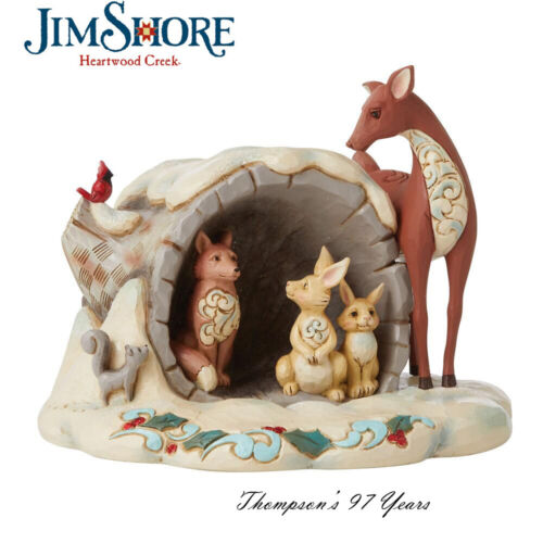 Jim Shore Snowy Day, Come Out to Play - Wonderland Animals Hollow Log 6009487