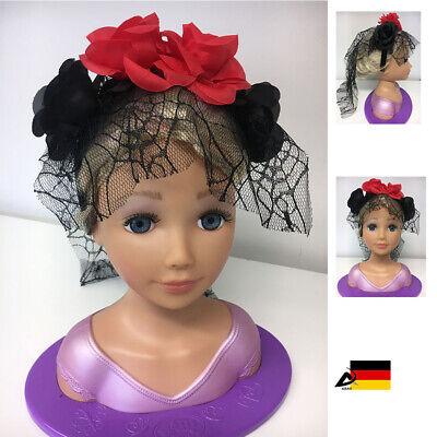 Tag der Toten Haarreif Haarschmuck Schleier schwarze rote Rosen halloween ABAV
