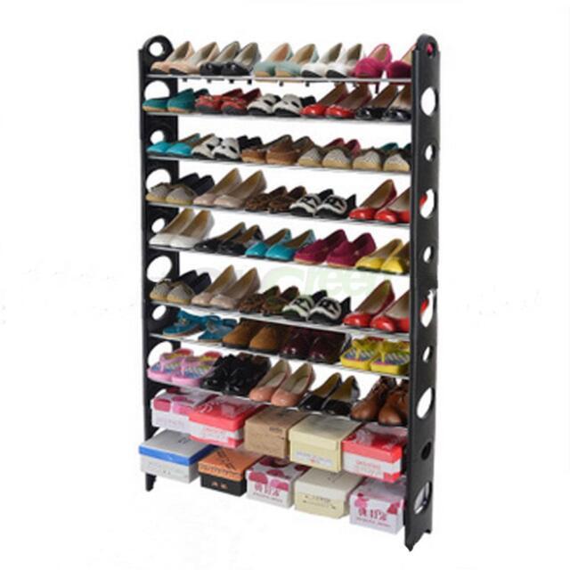 10 Tier Shoe Rack 50 Pair Wall Bench Shelf Closet Organizer Storage Box  Stand