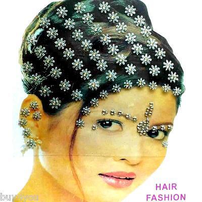 Bollywood Bindis Indisch Haarschmuck Kopfschmuck Strass Hochzeit Silber Fasching