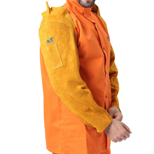 """22"""" Welding Sleeves Golden Adjustable Fire Resistant Leather for Arm Protection"""