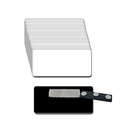 25 Blank White Black Name Badge Kit U Magnets 2 X 3 Tags 18 Corners