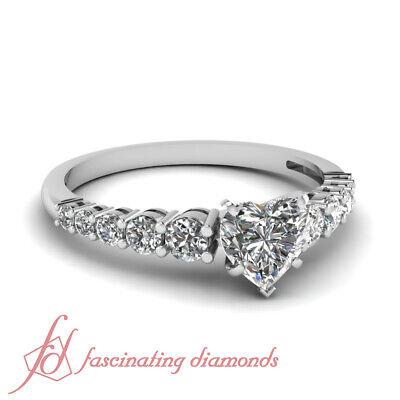 1 Carat Graduated Round Accented Engagement Ring With Center Heart Shape Diamond