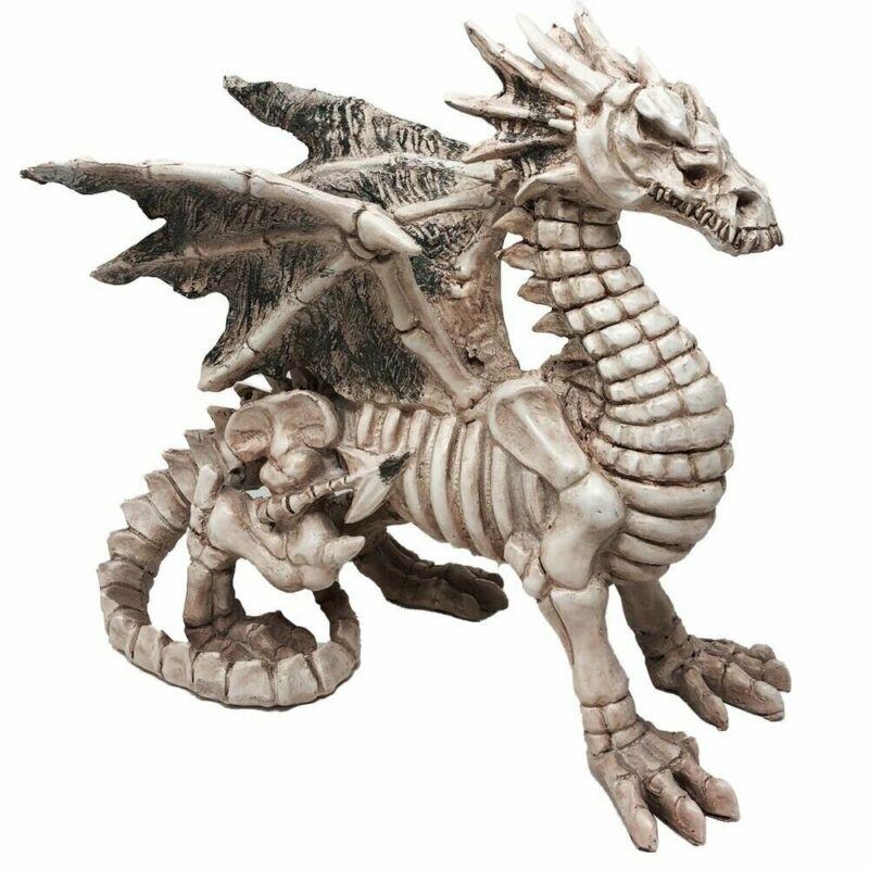 Gothic Skeleton Winged Dragon Sculpture Statue Ghost Alchemy Fantasy Halloween