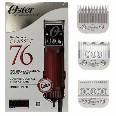 Cortadora de cabello Oster Classic 76 con cuchillas # 00000, 000 y 1 desmontables