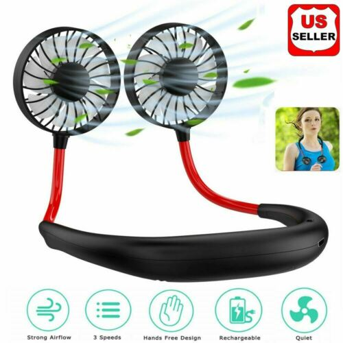 Portable USB Rechargeable Neckband Dual Cooling Mini Fan Lazy Neck Hanging Style Heating, Cooling & Air