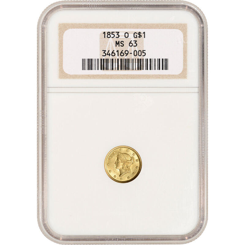 1853-O US Gold $1 Liberty Head - NGC MS63