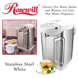 NEW Rosewill Electric Hot Water Boiler and Warmer, 4.0 Liter Hot Water Dispenser, Stainless Steel/White, R-HAP-15002 ...