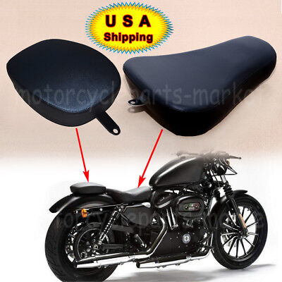 USA Front Driver Solo Seat+Rear Passenger Pad For Harley Sportster XL1200 883 72 Front Rider Seat