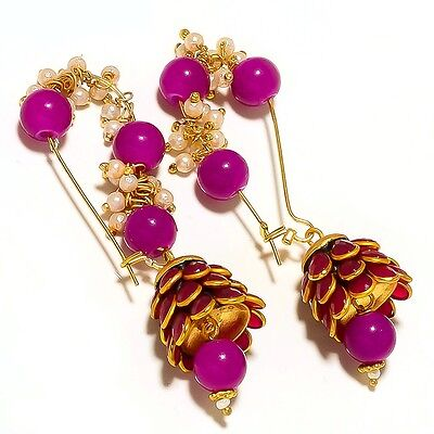 New Gold Plated Handmade Designer Bali Earring With Pacchi Work, Onyx & Pearl