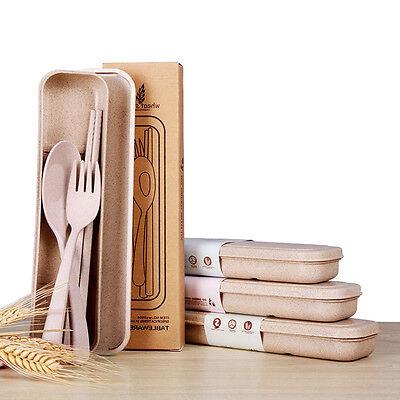 Portable 3pcs Tableware Creative Dinner Kitchen Travel Chopsticks Spoon Fork Set