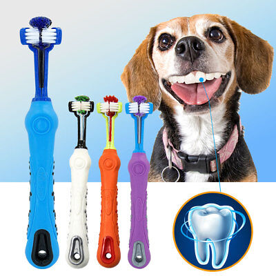 Triple Pet Cat Dog Three Sided Toothbrush Dental Care Fingerbrush Remove Plaque ()