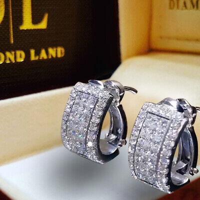 2Pcs Mens Women Crystal 925 Silver Ear Hoop Stud Huggies Earrings Jewelry