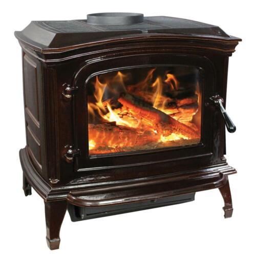 Breckwell Cast Iron Wood Stove Mahogany Enamel Porcelain Fireplace Refurbished