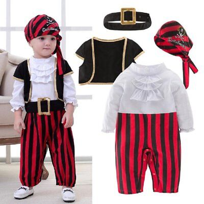 Baby Boy Girl Carnival Pirate Captain Costume Outfit Cloth Cosplay Party Dress